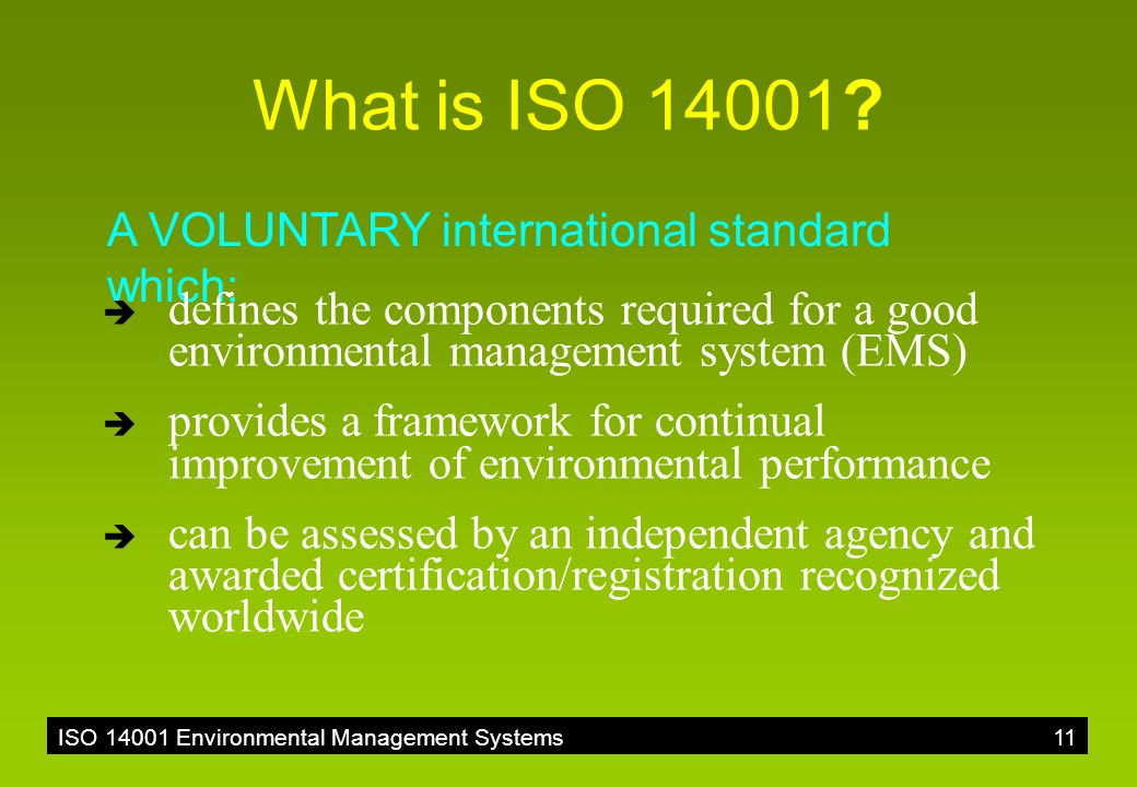 Overview Of Iso Environmental Management Systems Ppt