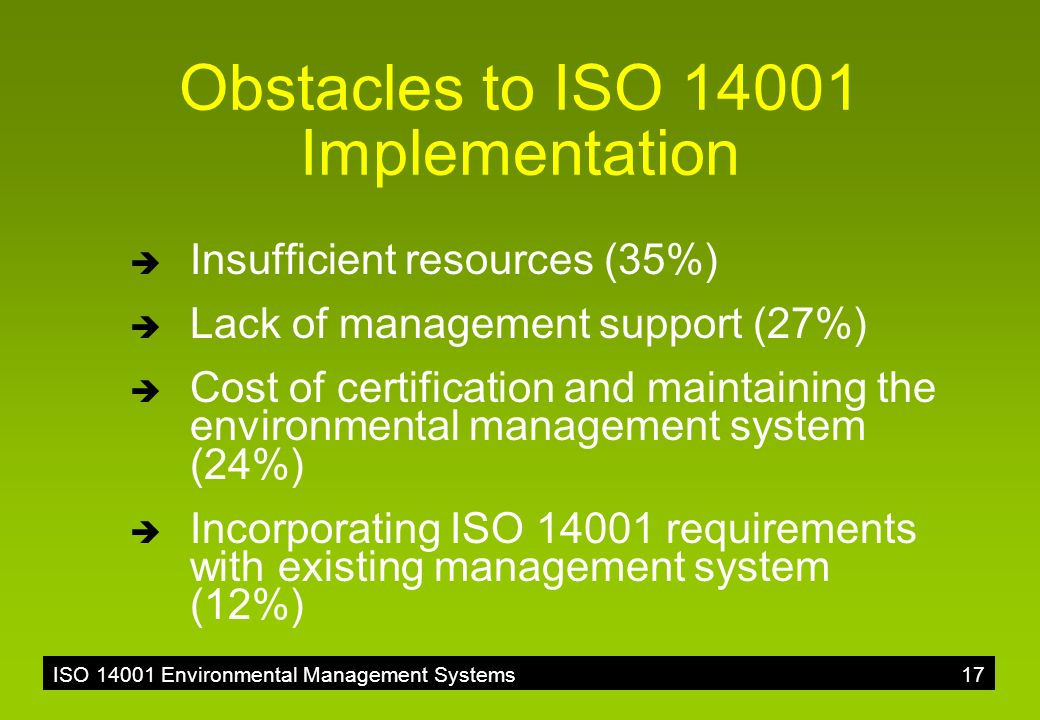 the implementation of environmental management system For improving the environmental performance in industries, sri lanka has been active in implementing iso 14001, environmental management system (ems) standgrd tlsing structured questionnaire survey and the relative importance index (rii) this poper identified the criical factars affecting the effective implementation.