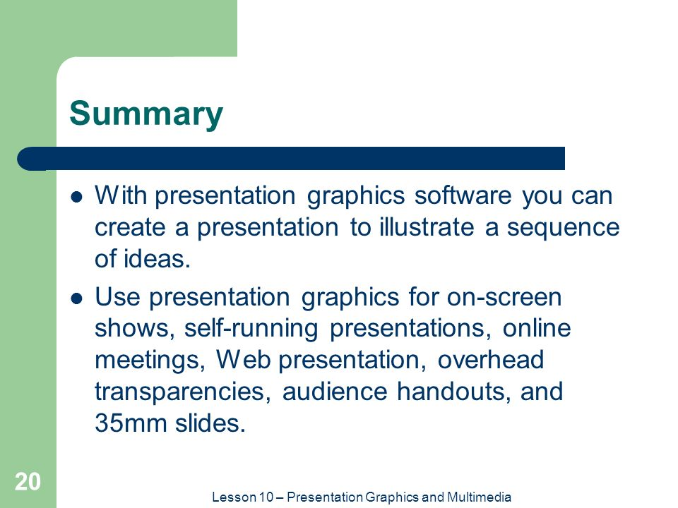 Lesson 10 — Presentation Graphics and Multimedia - ppt ...