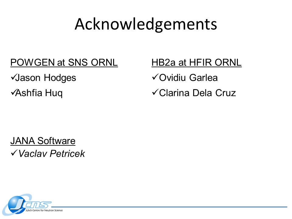 Acknowledgements POWGEN at SNS ORNL Jason Hodges Ashfia Huq