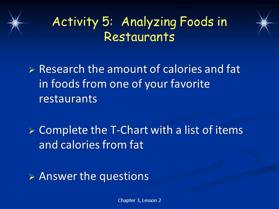 Activity 5: Analyzing Foods in Restaurants