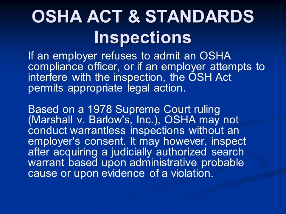 osha act The main federal law covering threats to workplace safety is the occupational safety and health act (osha) osha created the occupational safety and health administration (also called osha) to enforce workplace safety and it created the national institute for occupational safety and health (niosh.