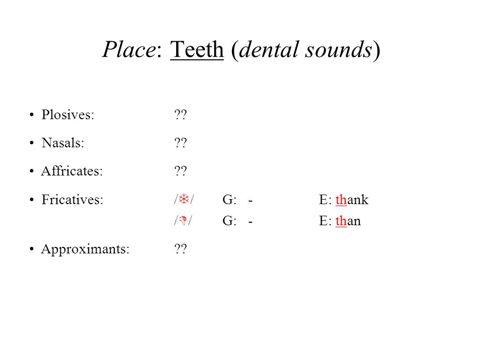 Place: Teeth (dental sounds)