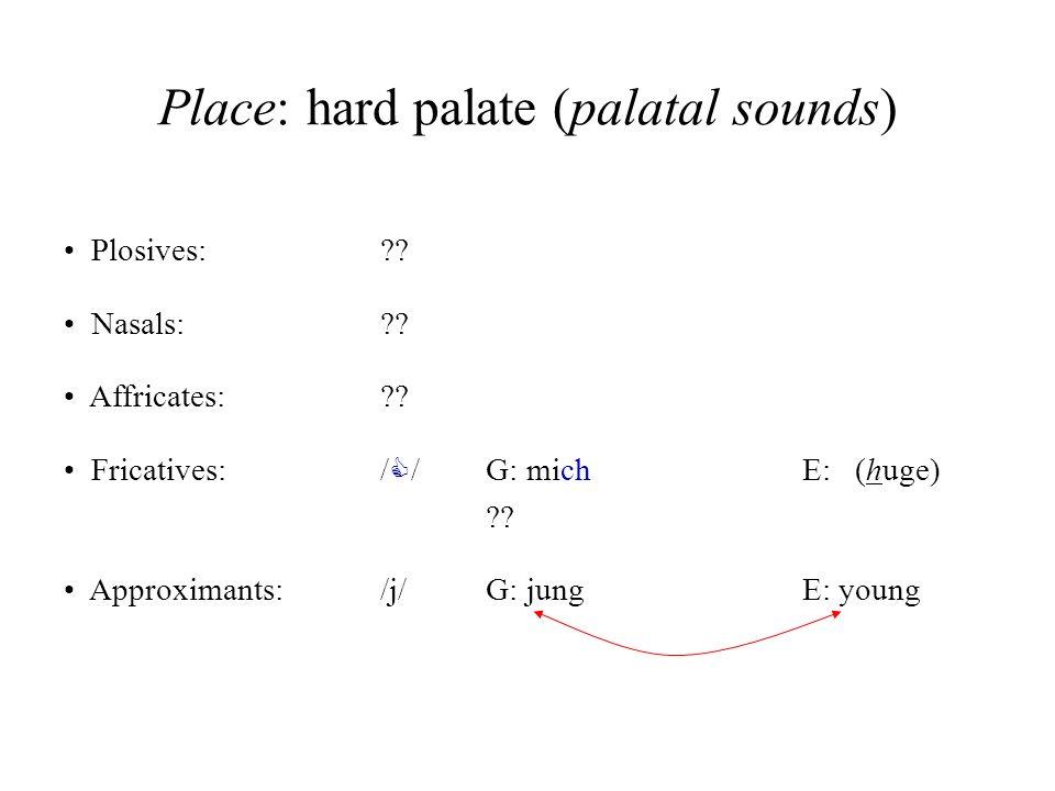 Place: hard palate (palatal sounds)