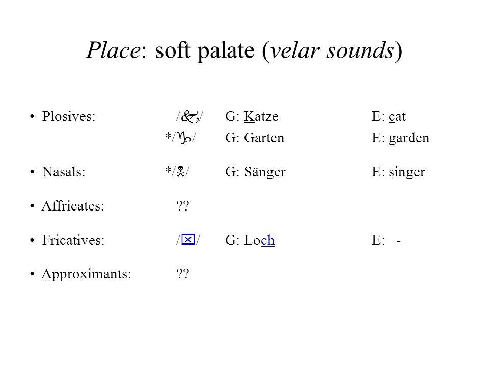 Place: soft palate (velar sounds)