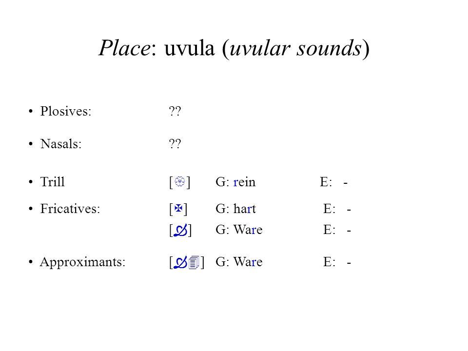 Place: uvula (uvular sounds)