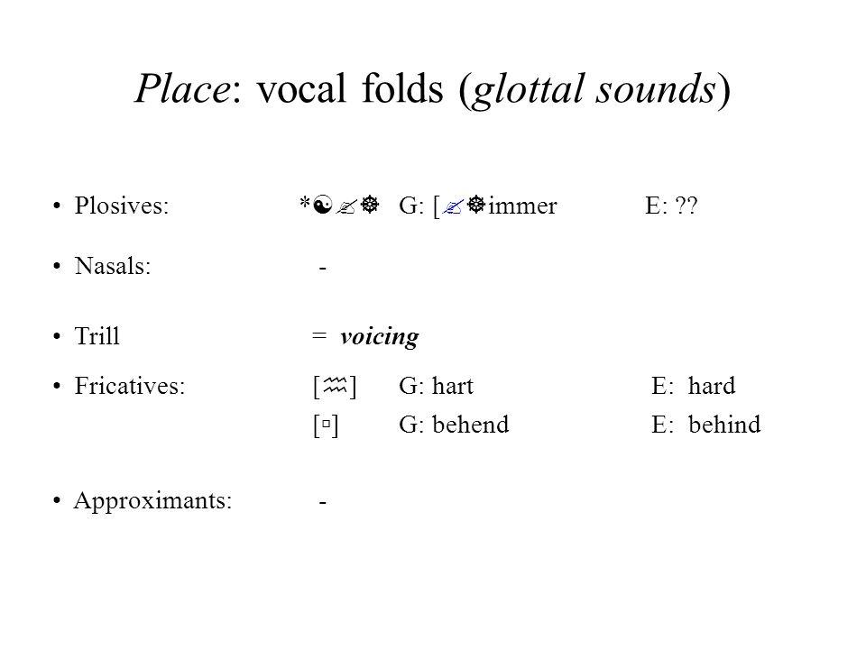 Place: vocal folds (glottal sounds)