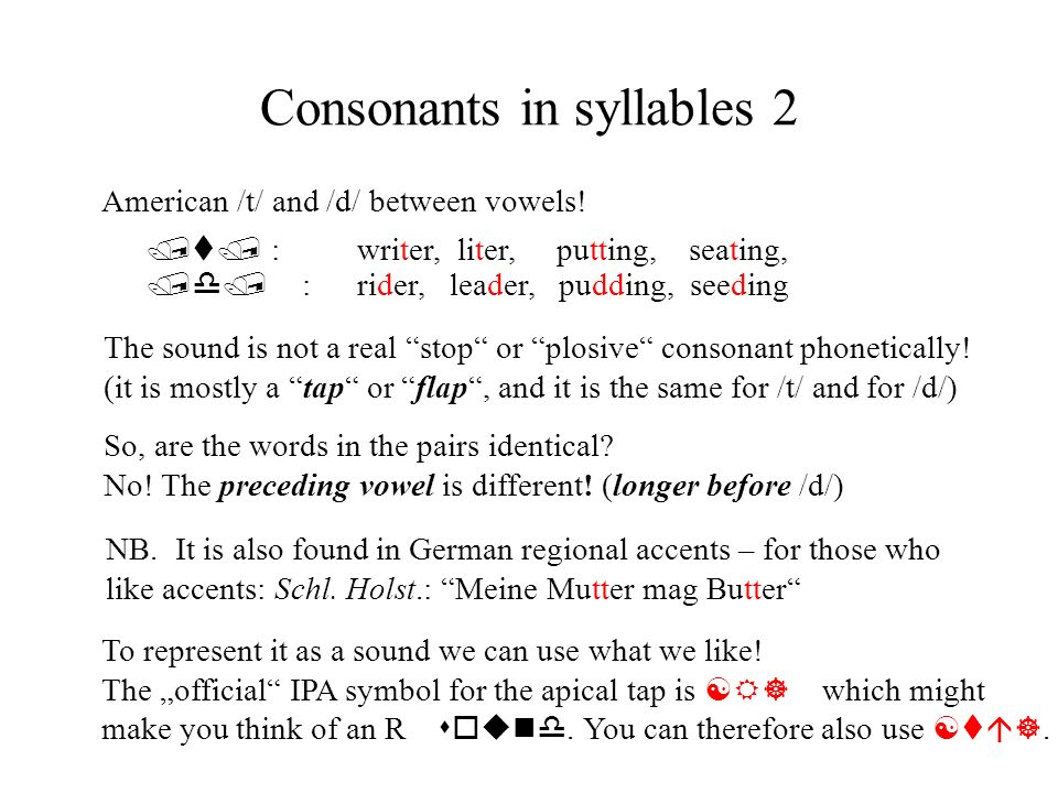 Consonants in syllables 2