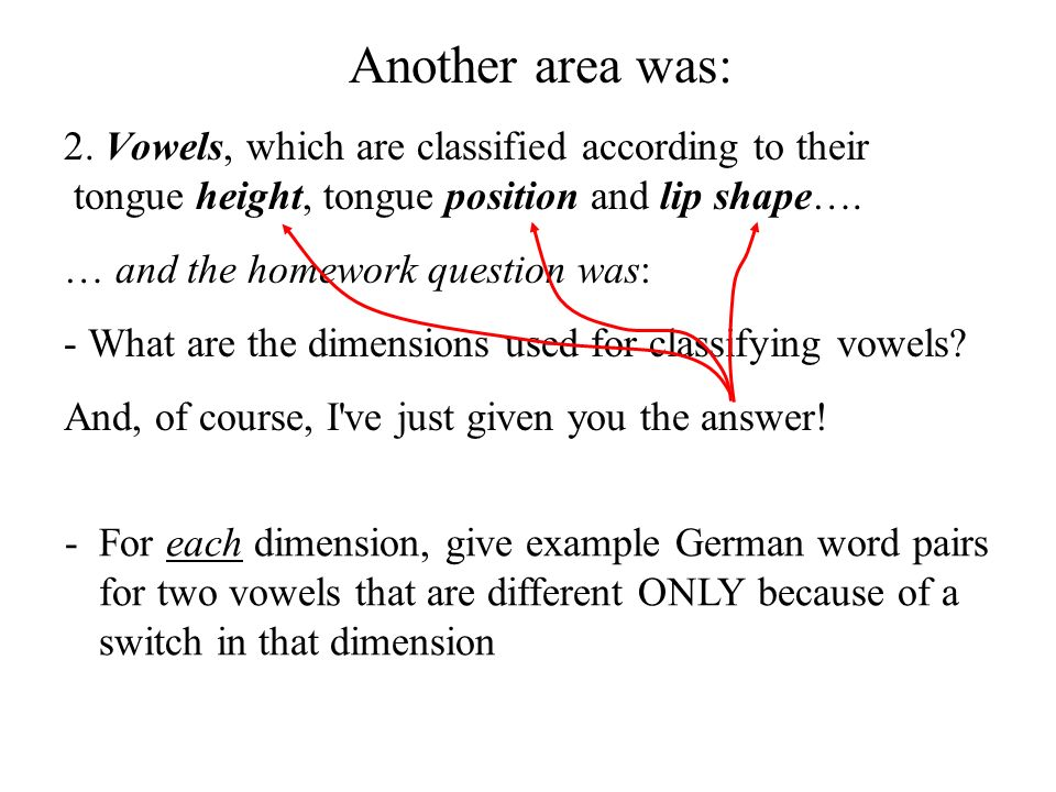 Another area was: 2. Vowels, which are classified according to their tongue height, tongue position and lip shape….