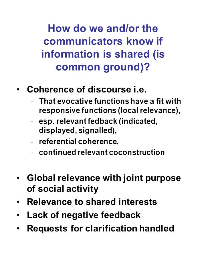 How do we and/or the communicators know if information is shared (is common ground)