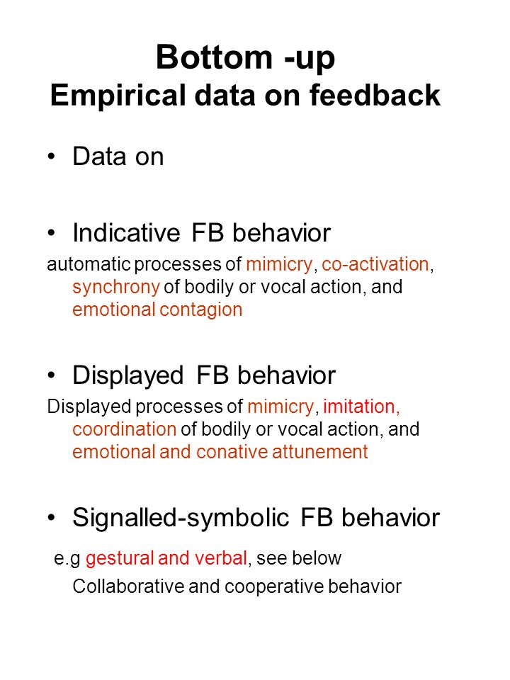 Bottom -up Empirical data on feedback
