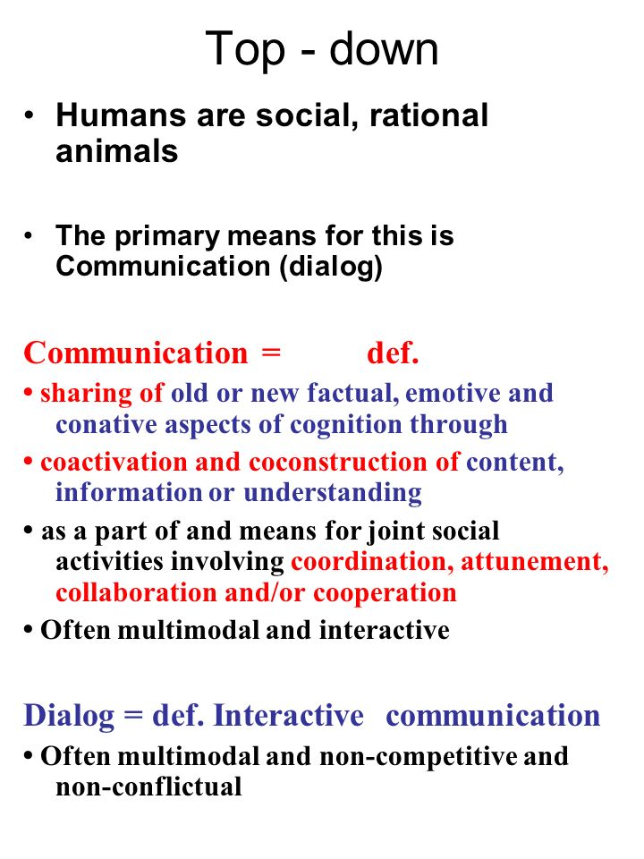 Top - down Humans are social, rational animals Communication = def.