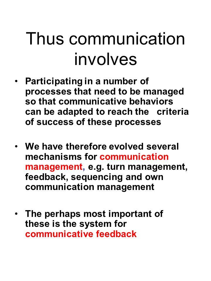 Thus communication involves