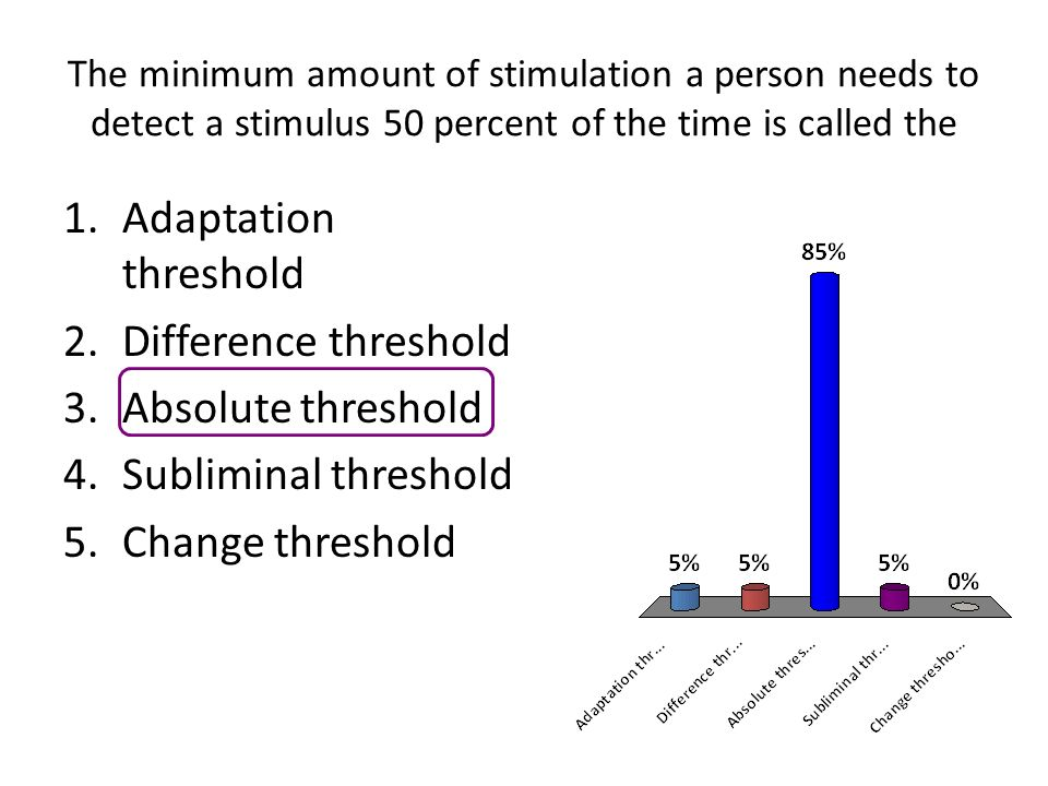 absolute and difference threshold The animal's absolute threshold for vision is lower than its absolute threshold for hearing, the animal's difference of threshold for vision is smaller than.