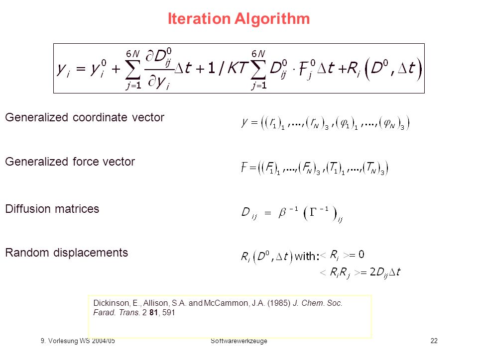 Iteration Algorithm Generalized coordinate vector