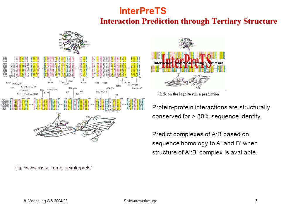 InterPreTS Protein-protein interactions are structurally conserved for > 30% sequence identity.