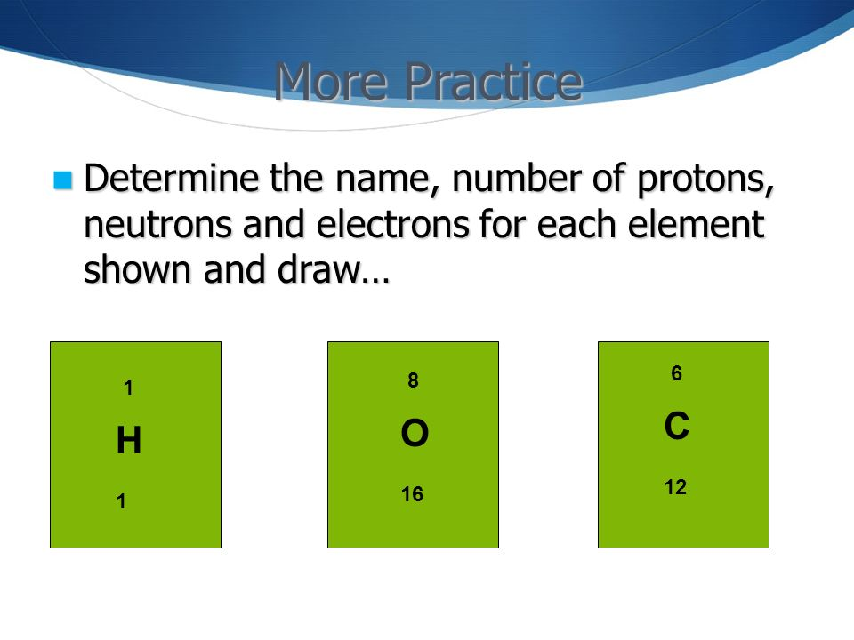 More Practice Determine the name, number of protons, neutrons and electrons for each element shown and draw…