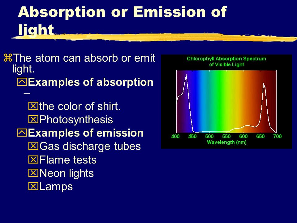 absorption and emission of light Emission is the ability of a substance to give off light, when it interacts with heat absorption is the opposite of emission, where energy, light or radiation is.