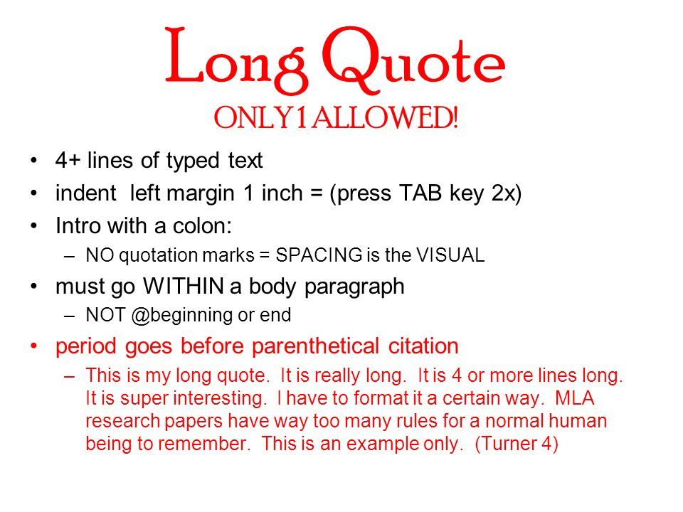 long quotes within an essay