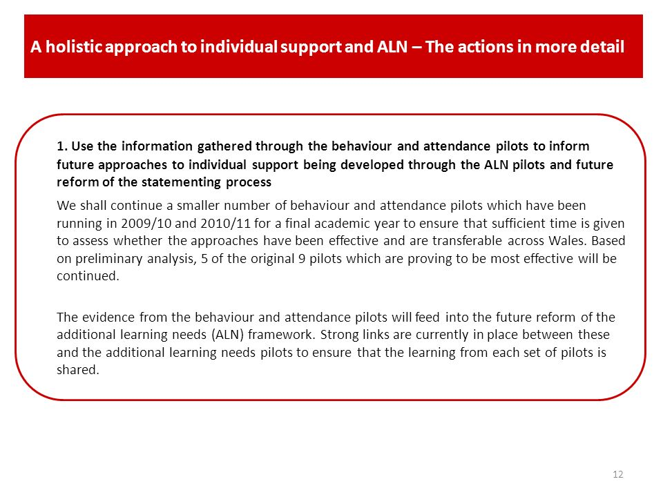 A holistic approach to individual support and ALN – The actions in more detail