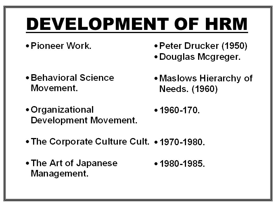 DEVELOPMENT OF HRM