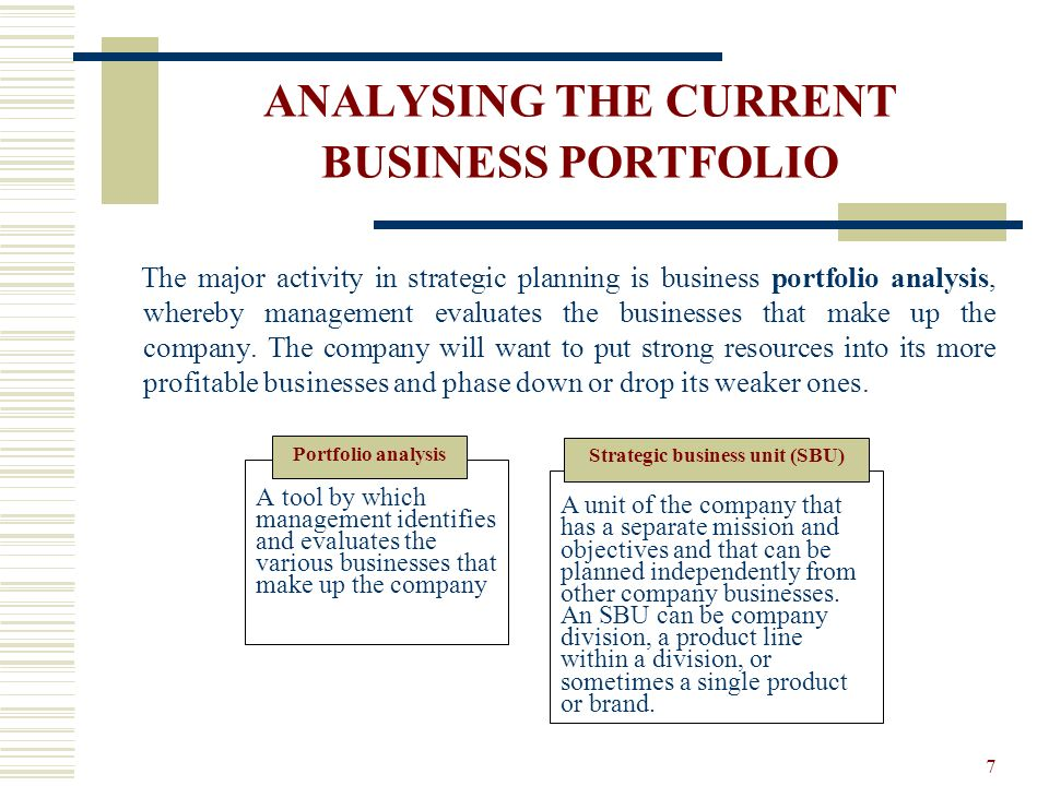 ANALYSING THE CURRENT BUSINESS PORTFOLIO