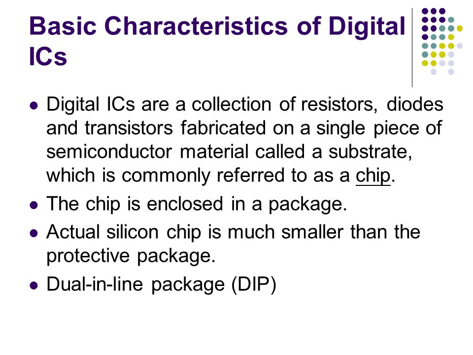 Digital Systems: Digital IC Characteristics