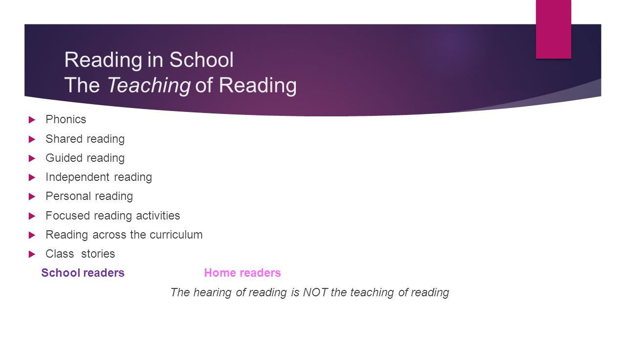 Reading in School The Teaching of Reading