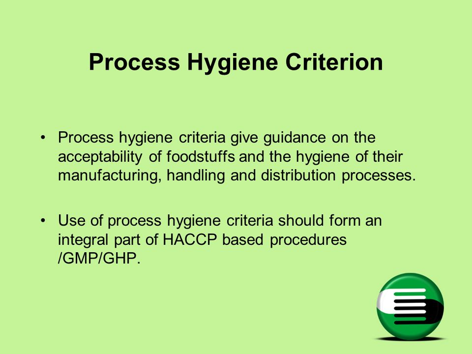 Process Hygiene Criterion