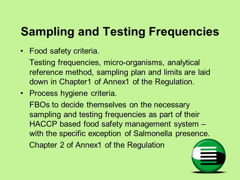 Sampling and Testing Frequencies