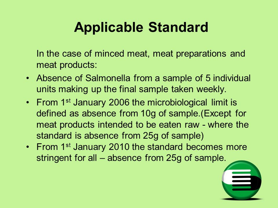 Applicable Standard In the case of minced meat, meat preparations and meat products: