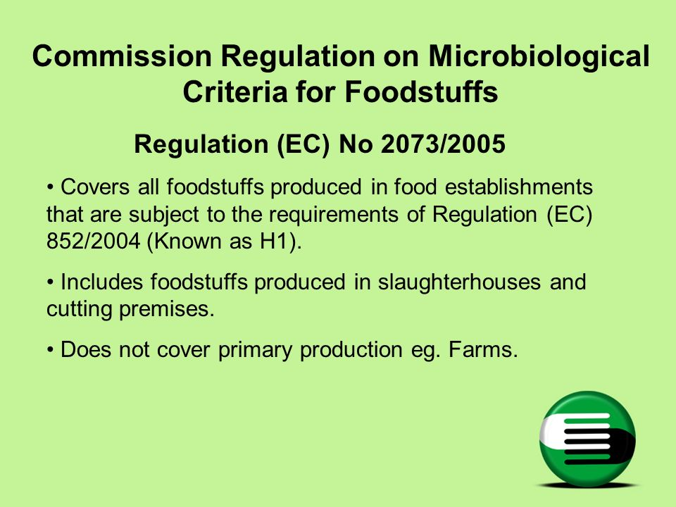 Commission Regulation on Microbiological Criteria for Foodstuffs