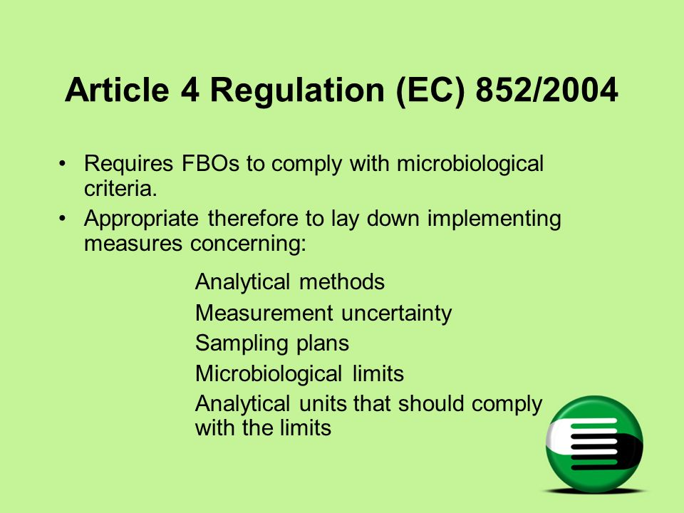 Article 4 Regulation (EC) 852/2004