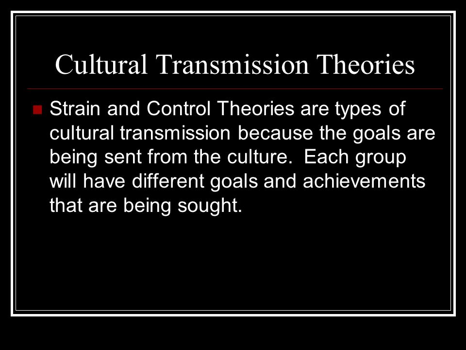 Cultural Transmission Theories