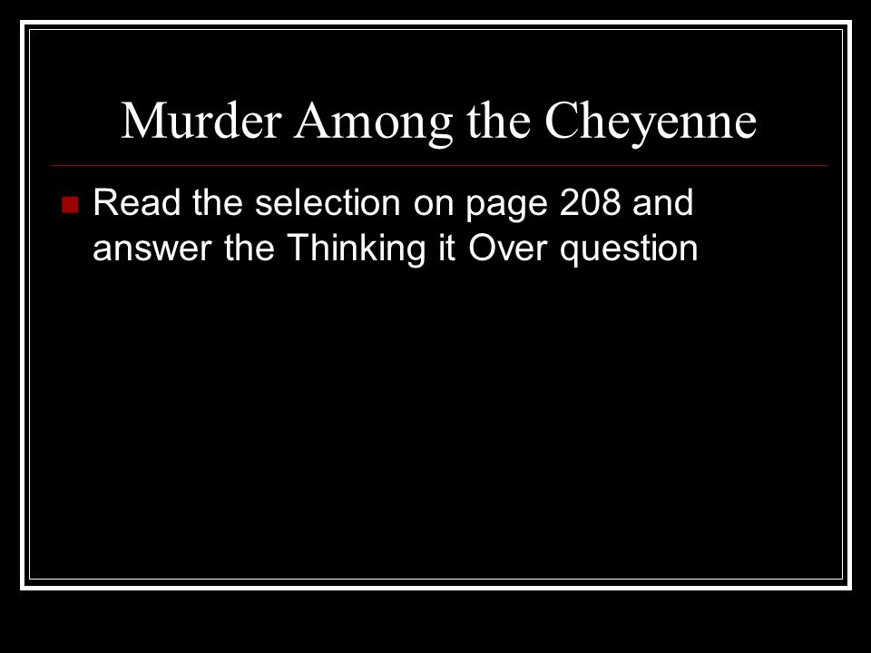 Murder Among the Cheyenne