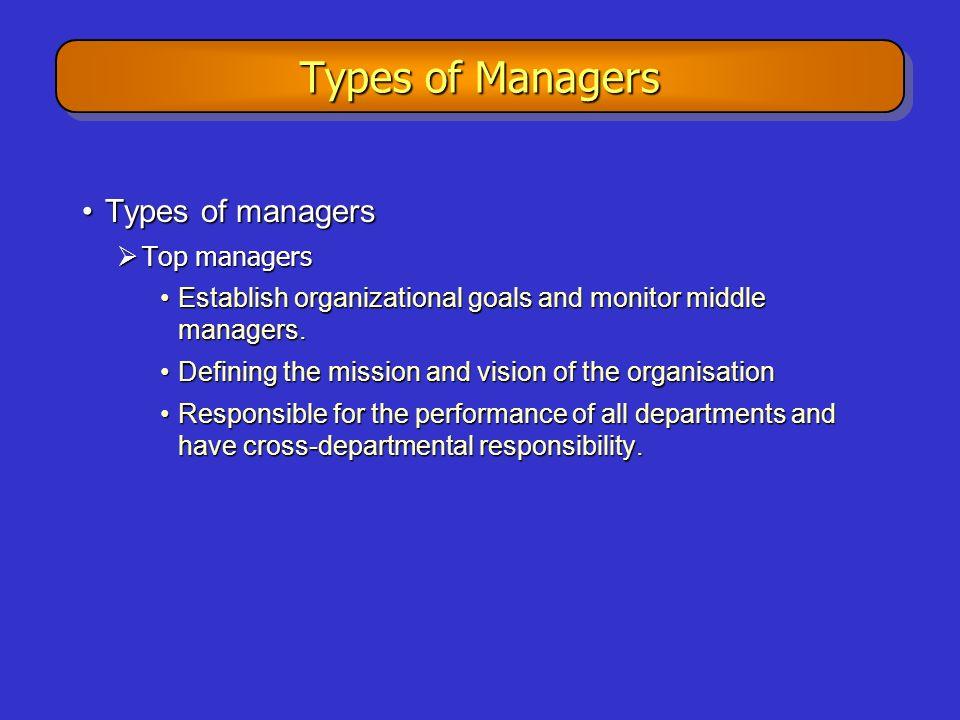 Types of Managers Types of managers Top managers