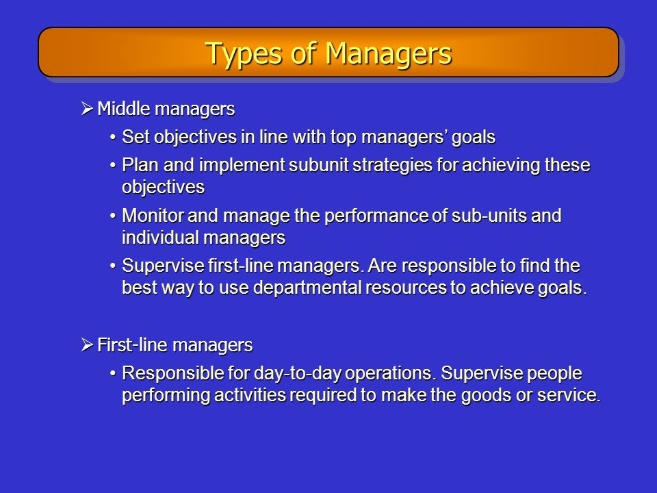 Types of Managers Middle managers