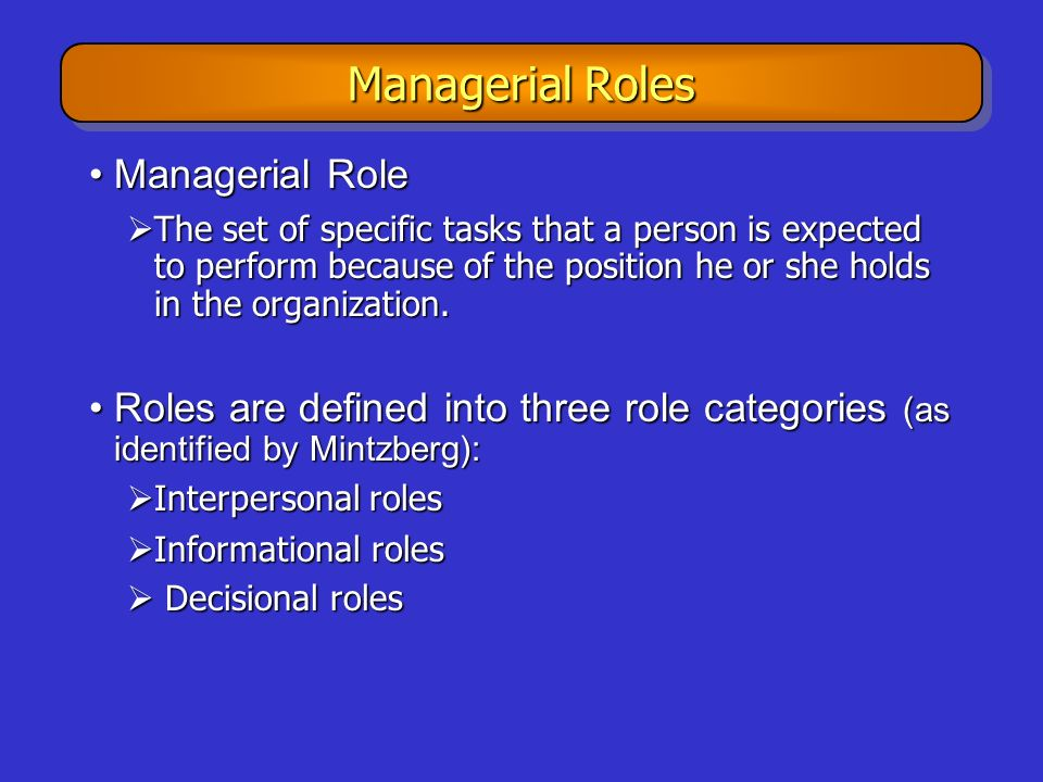 Managerial Roles Managerial Role