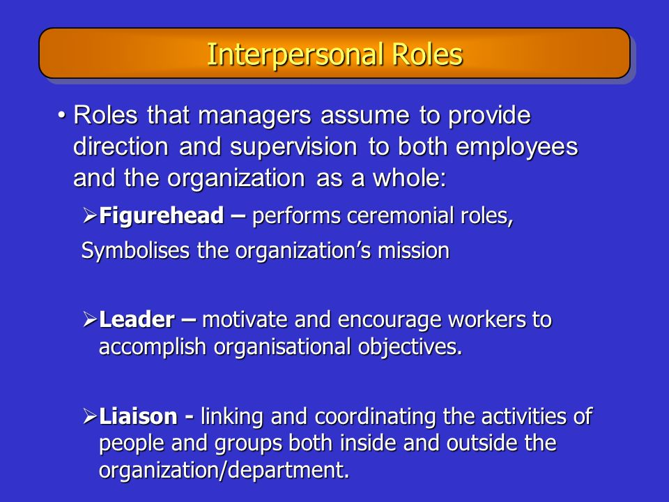 Interpersonal Roles Roles that managers assume to provide direction and supervision to both employees and the organization as a whole: