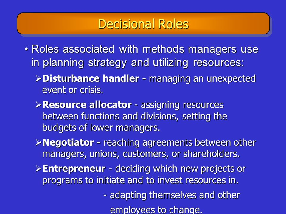Decisional Roles Roles associated with methods managers use in planning strategy and utilizing resources: