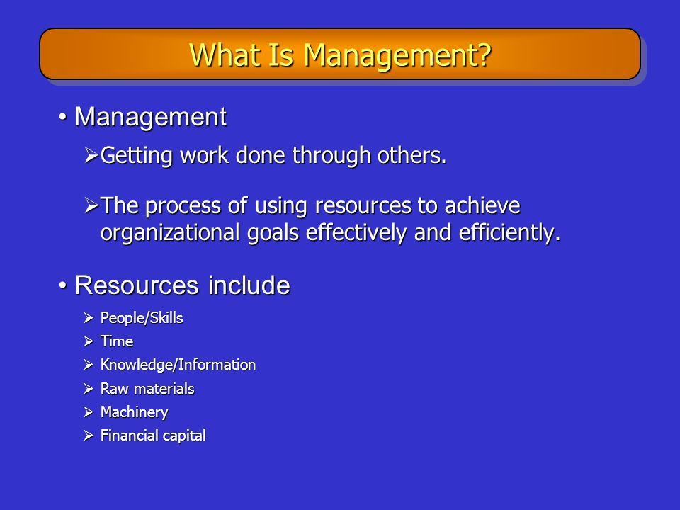 What Is Management Management Resources include