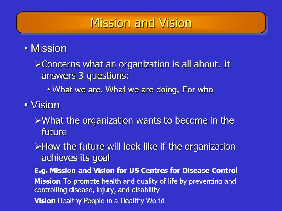 Mission and Vision Mission Vision