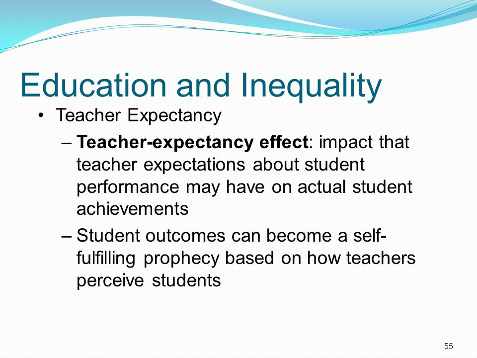 teacher expectancy effect The study tested 4 direct and 28 indirect teacher expectancy effects on students' results in the mathematics and literacy sections of the matriculation test, and their final marks in.