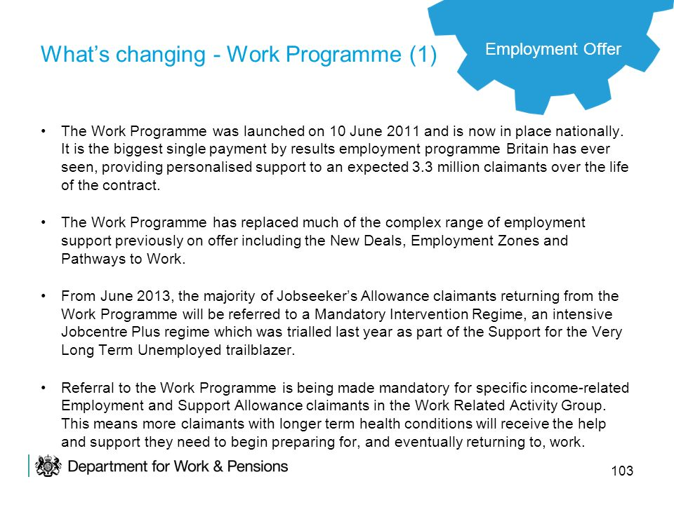 What's changing - Work Programme (1)