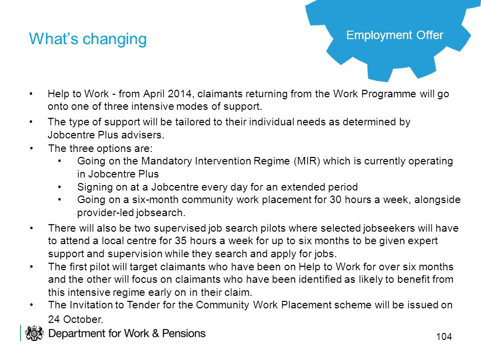 What's changing Employment Offer