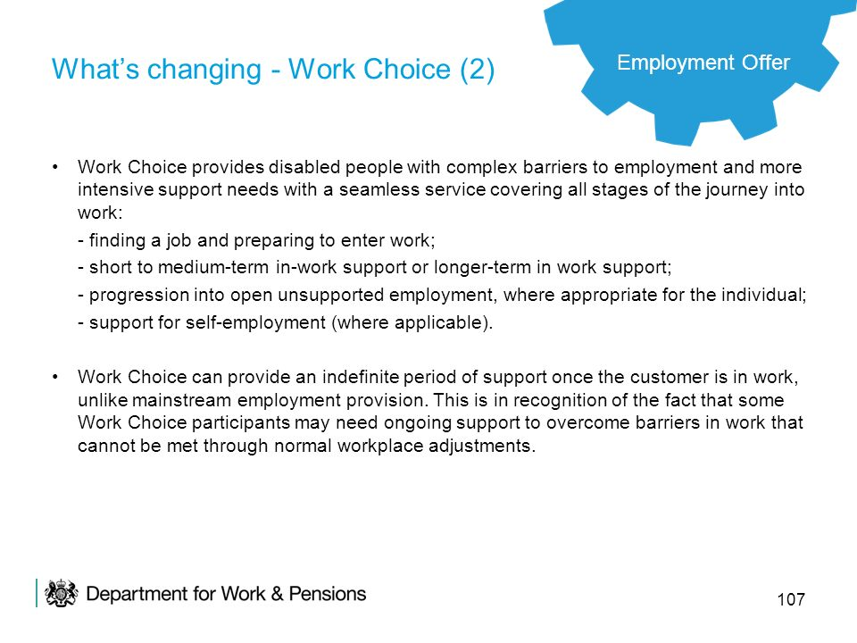 What's changing - Work Choice (2)