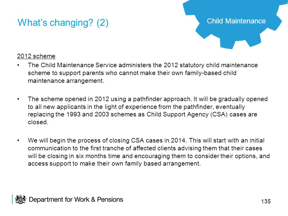 What's changing (2) Child Maintenance 2012 scheme