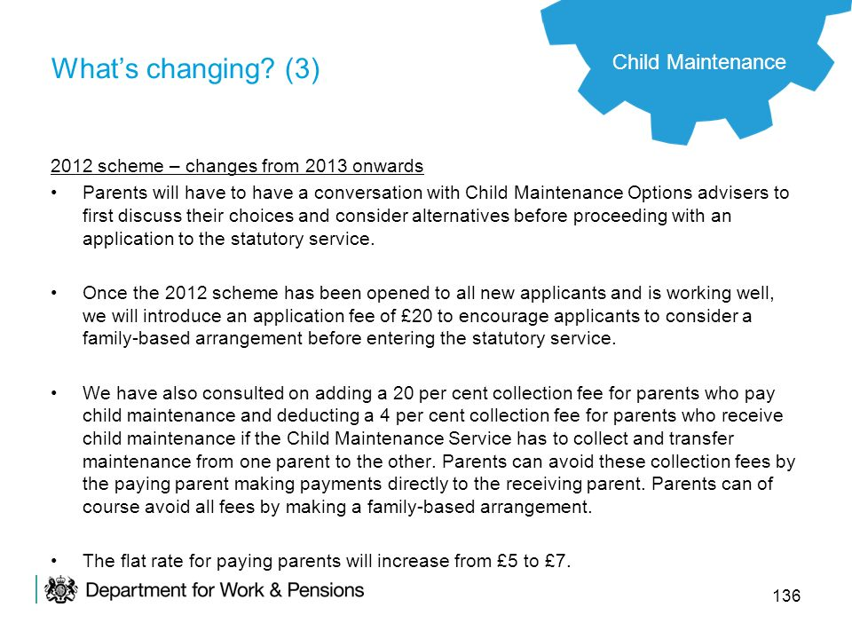 What's changing (3) Child Maintenance