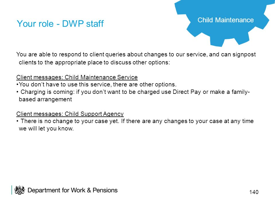 Your role - DWP staff Child Maintenance