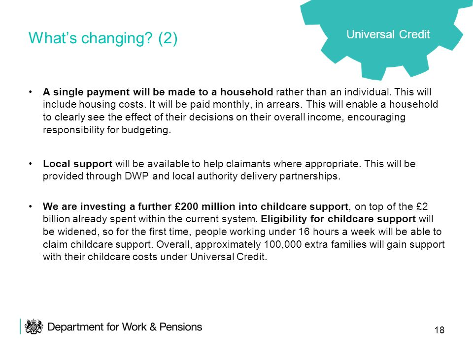 What's changing (2) Universal Credit